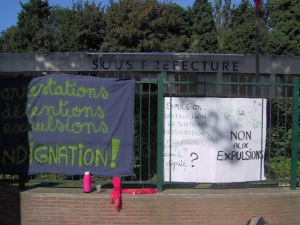 Banners outside Sub Prefect's office this morning