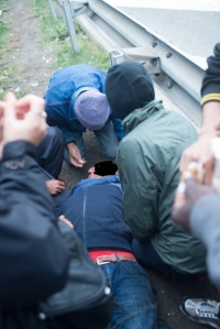 sprayed man down